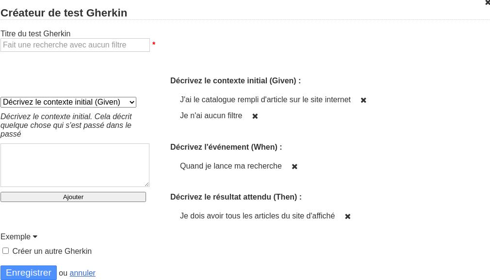 Image de l'interface de création d'un test Gherkin